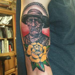 Traditional portrait tattoo, tattoo st Augustine , florida tattoo artist , traditional rose tattoo , Jesse Britten
