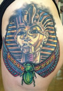 King tut portrait , color portrait , realistic king tut tattoo, realistic color tattoo , tattoo st Augustine , tattoo artist st Augustine ,
