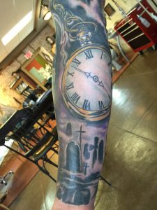 Pocket watch tattoo , realistic color tattoo , st Augustine tattoo
