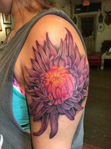 Realistic chrysanthemum tattoo, bright color tattoo, st Augustine tattoo shop