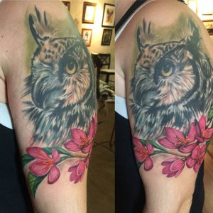 Owl and flowers , realistic color tattoo , st Augustine tattoo