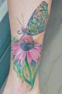 Realistic flower tattoo, flower tattoo, realistic butterfly tattoo, st Augustine tattoo