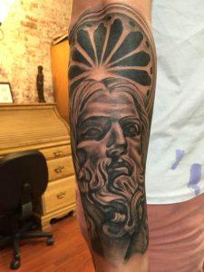 Realistic Jesus tattoo, black and grey tattoo, st Augustine tattoo, st Augustine beach tattoo