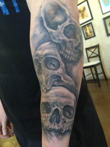 Realistic skull tattoo , tattoo st Augustine , black and grey tattoo