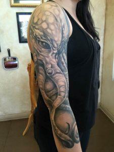 Octopus tattoo , octopus sleeve , black and grey octopus , st Augustine tattoo , Jacksonville tattoo