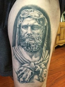 Hercules tattoo , black and grey , statue tattoo , St Augustine tattoo artist