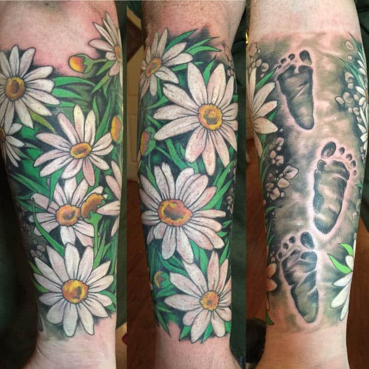 Daisy Flower Tattoo Sleeve