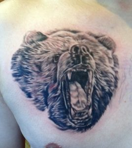 bear tattoo , bear portrait , black and grey bear tattoo , animal portrait tattoo , florida tattoo artist