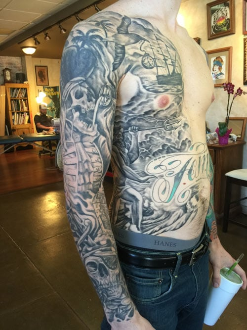 black and grey pirate sleeve , full sleeve with side piece tattoo, black and grey tattoo artist , st augustine tattoo shop