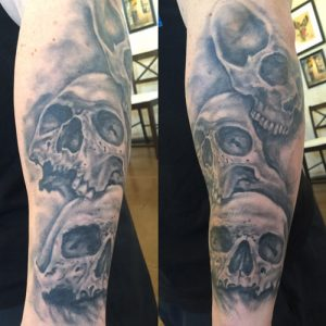 skull tattoo florida , st augustine skull tattoo , realistic black and grey tattoo