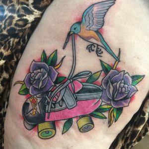 Derby tattoo, roller skate tattoo , traditional tattoo st Augustine , st Augustine tattoo artist
