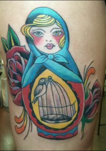 Russian doll tattoo , traditional tattoo at Augustine, traditional tattoo florida