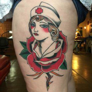 Rose of no mans land tattoo , tattoo artist florida , tattoo st augustine , florida traditional tattoo