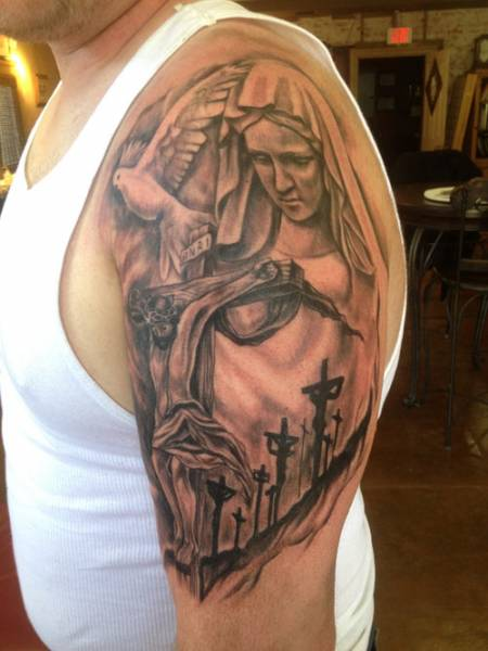jesus and mary tattoo , black and grey tattoo, florida black and grey tattoo artist , st augustine tattoo