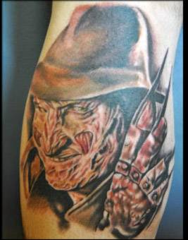 freddy kruger tattoo, horror portrait tattoo artist , freddy tattoo, horror movie tattoo , portrait tattoo artist florida