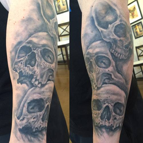 skull tattoo florida , st augustine skull tattoo , realistic black and grey tattoo