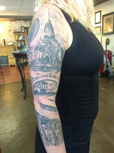 Black and grey sleeve, realistic tattoo, tattoo st Augustine